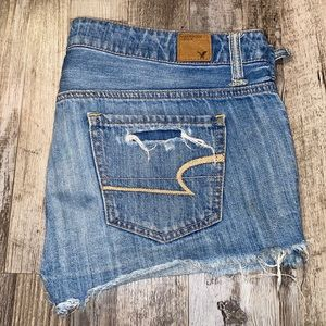 American eagle button fly blue jean shorts